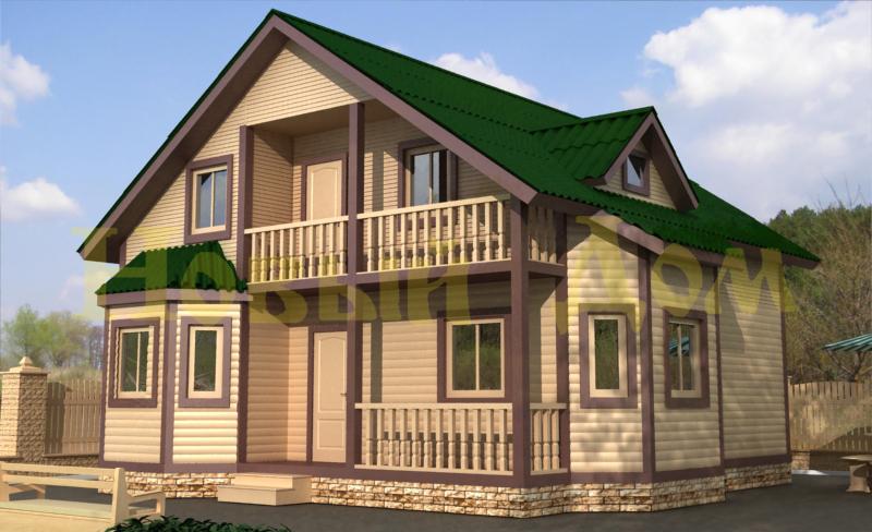 Проект дома из бруса с мансардой