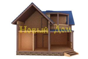 Полутораэтажный дом в разрезе